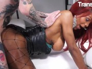 TransBella - Flavia Lins stunning black Brazilian transexual Gets Her chunky booty Filled With massive penis