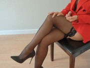 Boss cums young secretary on tits